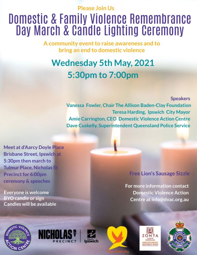 DFV Remembrance Day March & Candle Lighting Next Wednesday 5th May, 5:30pm Ipswich CBD