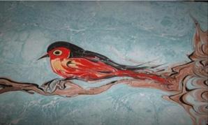 Marbling art made by Nüket Ocak