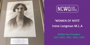 Vale Irene Longman M.L.A (1929-1932)